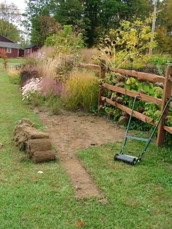 Stripping sod for border extension mid-October 07