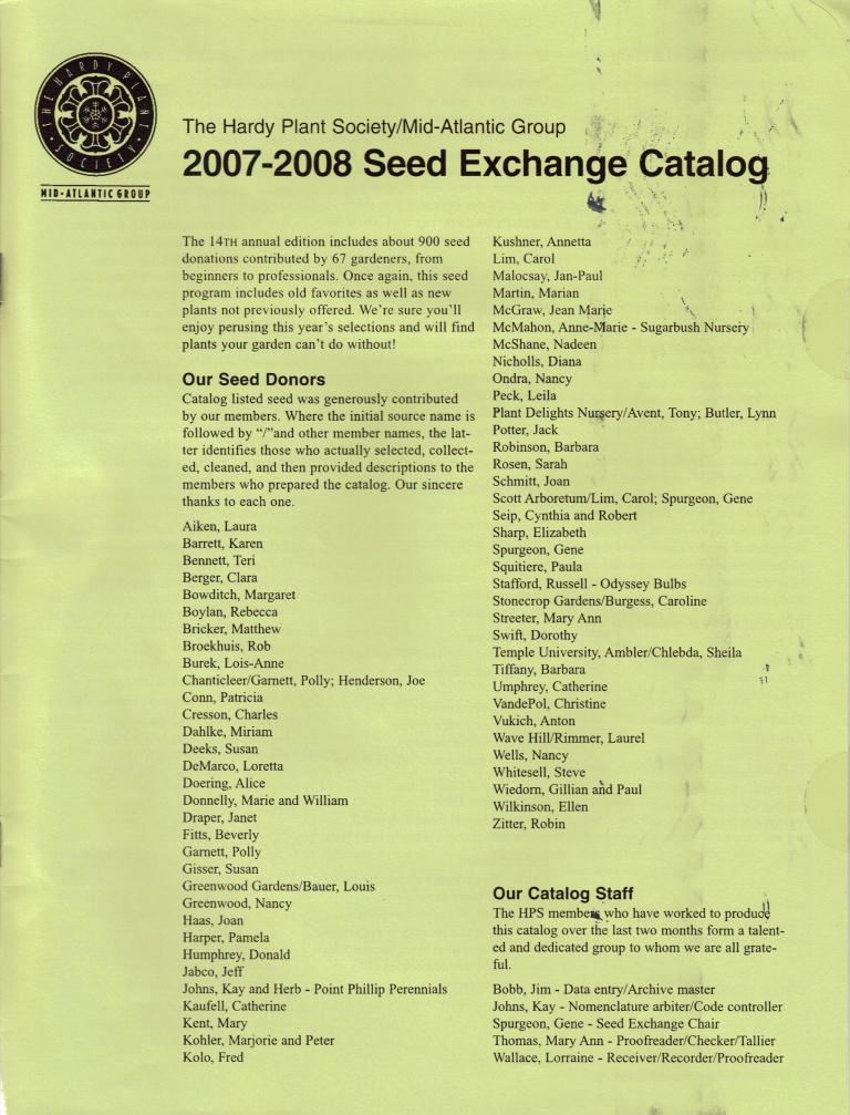 HPS/MAG Seed Exchange Catalog 2007-2008