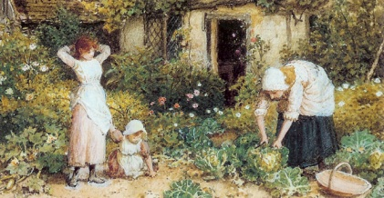 'Cutting Cabbages', a British romantic painting of the Victorian era. I think these cottagers would have dropped their 'heirlooms' for our modern varieties at the drop of a hat (or bonnet).