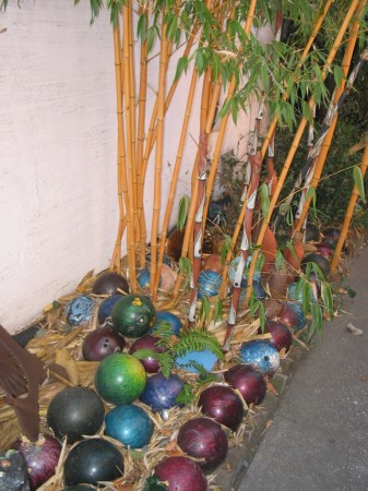 Great Mulch - Marcia Donahue&#039;s Bowling Ball Border - from one of the most original garden makers. Berkeley, California.