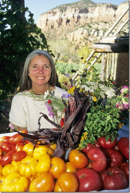 Elizabeth Berry ( Sebastian) at her garden in Gaillina Canyon near Abiquiu in northern New Mexico.