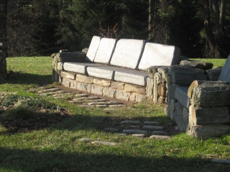 Chanticleer - stone seating area beyond The Ruin Garden