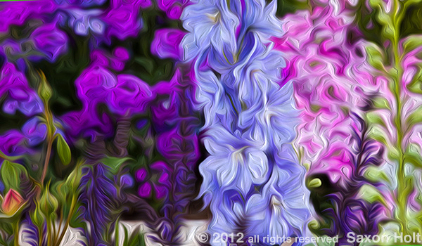 delphinium in flower garden oil paint swirl