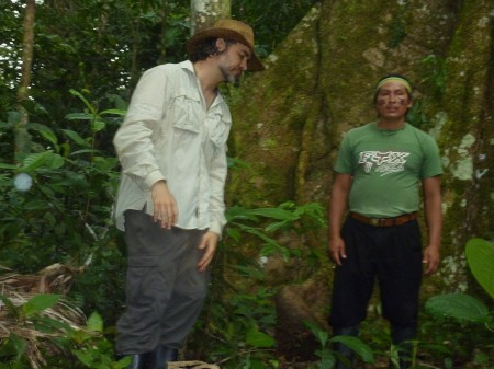 David Tucker, trip leader, of Pachamama Alliance and Roman, Achuar leader and trip rainforest guide
