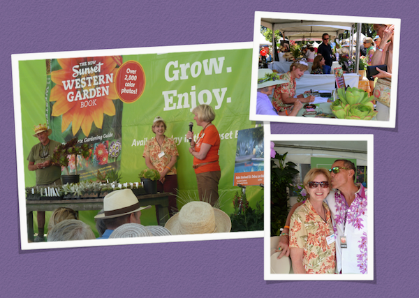 """May 30-June 1: At Sunset Magazine's Celebration Weekend Festival, nursery owner Robin Stockwell of Succulent Gardens and I gave a joint presentation as """"The King and Queen of Succulents."""" It was Sunset's garden editor Kathleen Brenzel's idea (she's in the orange T-shirt). Upper right: My booth at the Festival was next to that of popular garden author Rebecca Sweet. Susan Morse of the San Diego Horticultural Society (wearing a hat) accompanied me. Lower right: With Davis Dalbok of Living Green Design. Photos by Gary Bartl."""